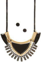 Statement Necklace Set, Black Necklace, Fringe Jewelry - $32.51 CAD