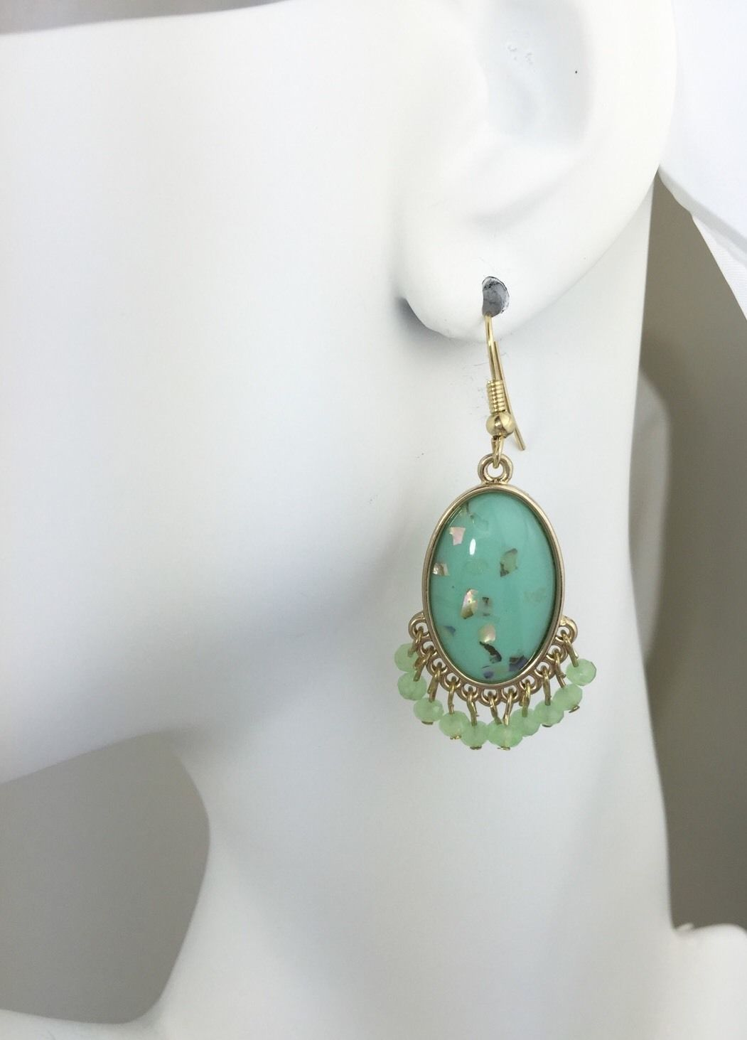 Primary image for Mint Green Earrings, Beaded Earrings,  Fringe Dangle Earrings Gold Tone
