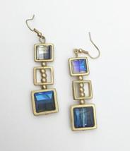 Blue Geometric Earrings, Beaded Earrings, Square Jewelry - $19.00
