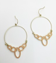 Peach Enamel Dangle Earrings Gold Tone - $19.00