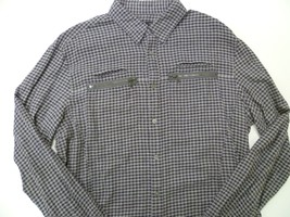 John Varvatos Cotton Plaid Zipper Pocket Detail Sport Shirt Large Purple... - $19.99