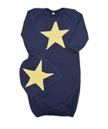 Unique Baby Boys Star Design Gown and Matching Cap 6 months Navy Blue - $17.99
