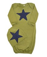 Unique Baby Boys Star Design Gown and Matching Cap Newborn Green - $17.99