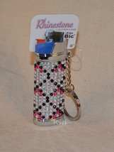 Rhinestone Lighter Cover/Sleeve (for REGULAR BICs) White w/black, pink (R6)