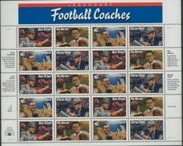 Stamps USPS Scott 3143-3146 Sheet MNH 1997 Legendary Football Coaches 20... - $12.87