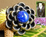 Vintage 1930s flower brooch pin blue cabochon style metal spec ny usa thumb155 crop