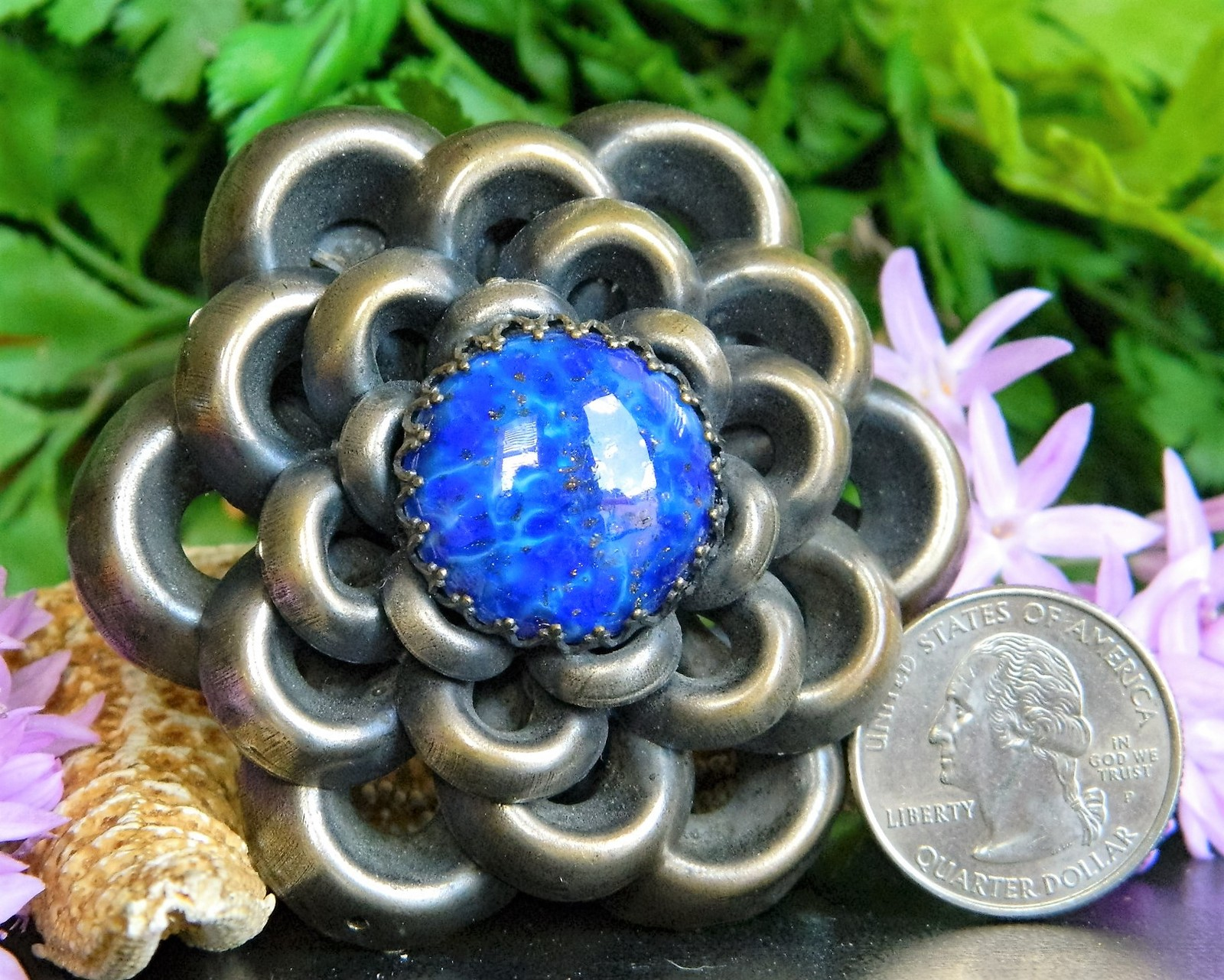 Vintage 1930s Flower Brooch Pin Blue Cabochon Style Metal Spec NY USA