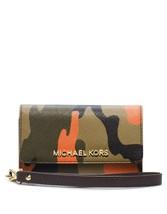 Michael Kors Phone Iphone 5 Case Wristlet - Poppy Camo Print Saffiano Leather - $98.99