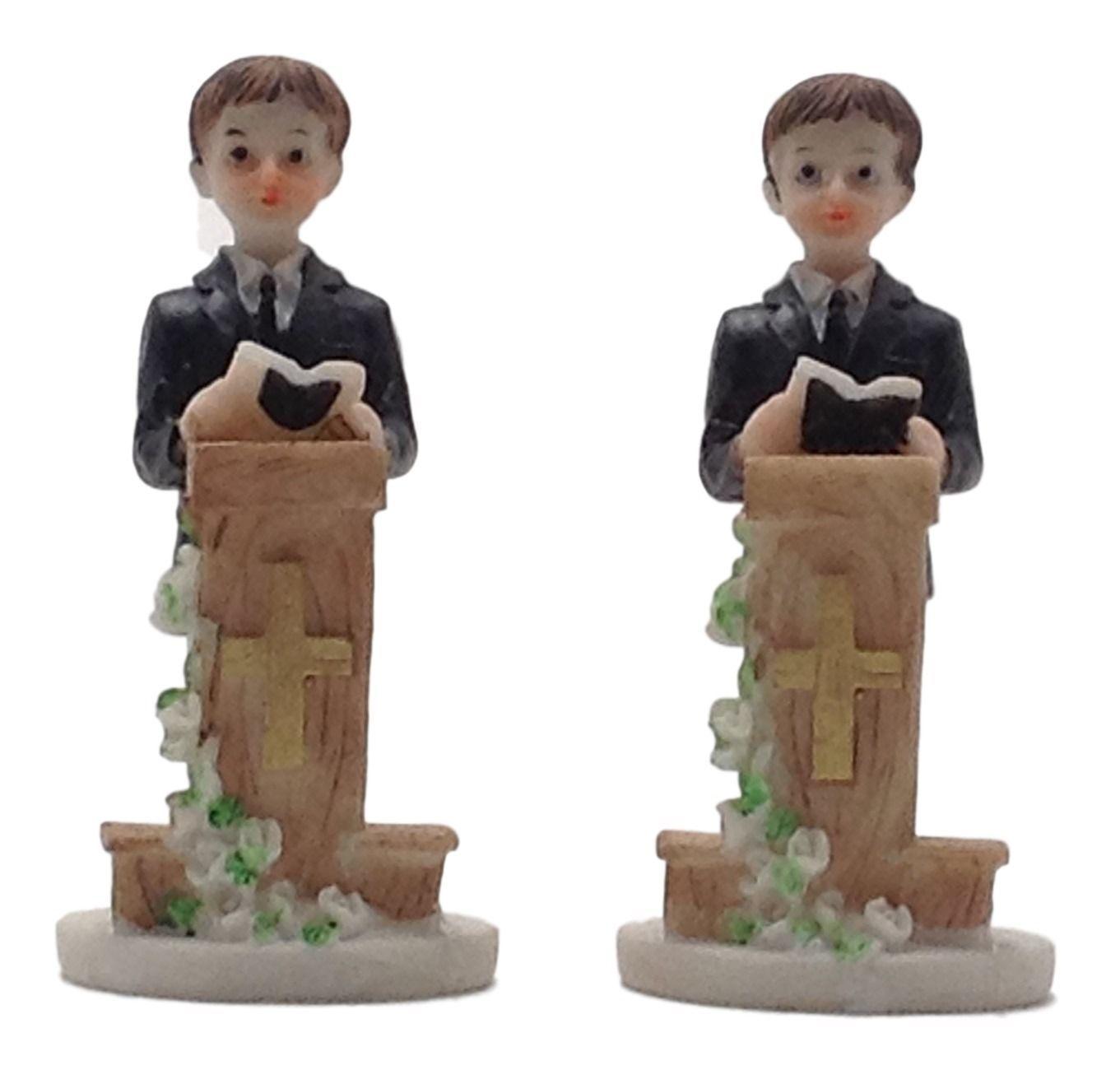 "2 pieces praying boy at podium 4"" tall communion favor decoration"