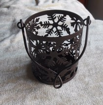 Yankee Candle Snowflake Basket Candle Holder W/Handle - £16.20 GBP