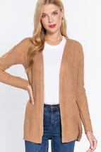 Long Sleeve Open Front Sweater Cardigan (Khaki) - $40.00
