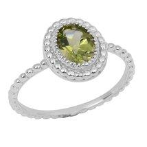 Shine Jewel Genuine Peridot Gemstone 92.5 Sterling Silver Wedding Ring - $13.85