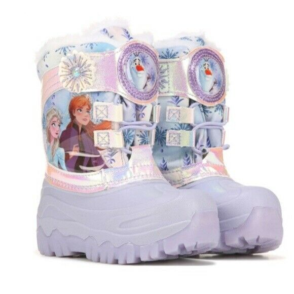 Toddler Girls Disney Frozen 2 Elsa Anna Light Up Winter Faux Fur Snow Boots NEW
