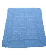 "Blue machine crochet baby blanket 40"" x 50"" soft and delicate - $16.81"