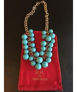 Kenneth Jay Lane Gold Tone Faux Turquoise Cluster Statement Necklace - $68.95