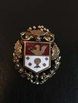 Vintage 40'S Coro Family Crest Coat Of Arms Heraldry Enamel Goldtone Brooch Pin - $27.02