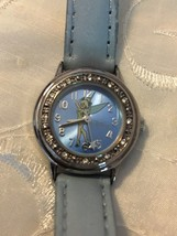 "Disney Tinkerbell Watch w/ Crystal Accents Light Blue Mint 8"" Band Women's - $432,18 MXN"