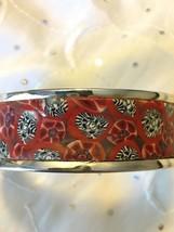 Vintage Artisan Sterling Silver Multicolor Polymer Clay Cuff Bangle Brac... - $69.95