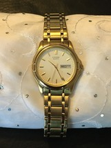 Men's Citizen Quarts Gold Plated 2500- K13980CK Day Date Calendar Watch - $74.95