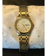 Men's Citizen Quarts Gold Plated 2500- K13980CK Day Date Calendar Watch - $74.95