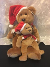 "Ty B EAN Ie Babies 1997 Christmas Teddy Bear Lot Of 2 (14"") & ( 8"") Holiday Nwt - $15.43"