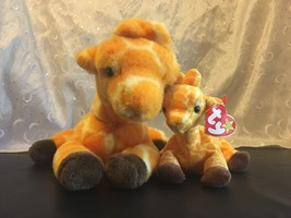 TY BEANIE BABIES BUDDIES TWIGS THE GIRAFFES LOT OF 2  LARGE & SMALL - $19.34