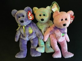 "TY BEANIE BABIES LOT OF (3) CELEBRATE EGGS & EGGS III THE BEAR 8"" NWT MINT - $13.50"