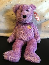 """TY BEANIE BABIES DABBLES THE PURPLE BEAR OF THE MONTH  8"""" NWT MINT RETIR... - $8.75"""