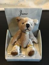 """RUSS MINI BEAR JUNE BIRTHDAY PEARL PENDANT BEARS OF THE MONTH 3"""" TAN NIB - $7.80"""