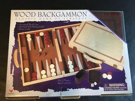 CARDINAL BACKGAMMON WOOD SET & CASE WITH FELT BOARD&  BRASS LOCKS *NEW* SUPERB! - $38.65