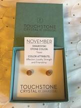 Touchstone Crystal Swarovski November Birthstone Topaz Stud Earrings 4075EF - $38.95