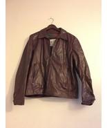 Vintage London Fog Brown Oxblood Leather Motorcycle Bomber Jacket Coat S... - $125.55