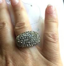 Touchstone Swarovski Crystal Black Diamonds Ring  .925 Silver NEW Size 6  - $69.95