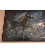 Vintage 80's Original Watercolor Painting Black Horse Midnight Blue Moll... - $595.00