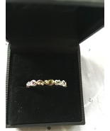 .925 STERLING SILVER & GOLD ACCENTS MULTI GEM STONE STACK RING SZ 10 - $58.01