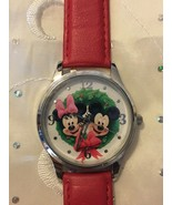 Disney Mickey Minney Mouse Christmas Holiday Watch Red Band Stainless Case - $15.95