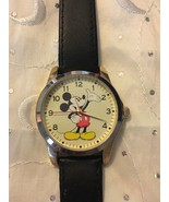 DISNEY MICKEY MOUSE WATCH 2 TONE SILVER & GOLD CASE BLACK LEATHER BAND M... - $22.41