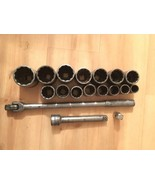 "SK 3/4"" DRIVE SOCKET SET 12 POINT 18 PIECE 7/8"" TO 2""  WITH 8"" EXTENSION... - $192.36"