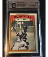 1972 TOPPS #438 MAURY WILLS IN ACTION AUTOGRAPHED SIGNED GAI AUTO CERTIFIED - $17.30