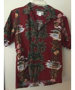 VINTAGE BISHOP ST.  RED HAWAIIAN PALM TREES HULA PINEAPPLE SHIRT MENS ME... - $28.98