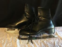 Vintage Mens Ice Skates Riedell Red Wing 9 John Wilson Sheffield Club Blades - $96.53