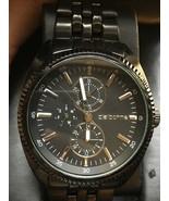 Claiborne Men's Chronograph Watch Gunmetal Black Stainless Band # CLM1092 - $56.95