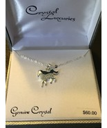 Horse Silver Plated Blue Clear Genuine Crystal Pendant Necklace *NEW* Re... - $23.11