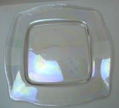 Clear Glass Salad Plates Iridescent Glow Square... - $9.93