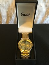 Speidel Men's 60333332 Classic Goldtone Analog Watch Stretch Band Gold Face New - $30.08