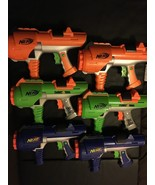 LOT OF 6 NERF DART TAG ORANGE GREEN BLUE BLASTER GUNS HYPERFIRE 10 BARRE... - $72.51