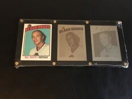 Topps Nhl Hockey 1976-77 Bill White #235 Black Hawks Card & 2 Printing Plates - $82.14