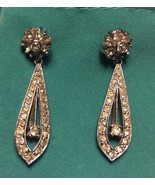 ANTIQUE SIGNED PANETTA RHINESTONE DROP PIERCED EARRINGS BRIDAL 40s/50s A... - $61.15
