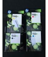 Hp Lot of 4 940XL Ink Black C4906AN Cyan C4907AN Magenta C4908AN Yellow ... - $48.33