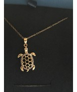 JTV DSF095 Diamond Accent 18K Gold Over Silver Turtle Pendant Charm Neck... - $45.95
